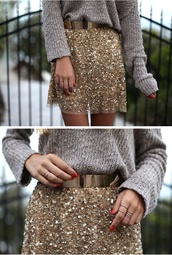 belt,clothes,blogger,metallic,skirt,gold glitter skirt,sequin skirt,fashion,girly,cute,warm,sweater,gold,gold belt,sequins