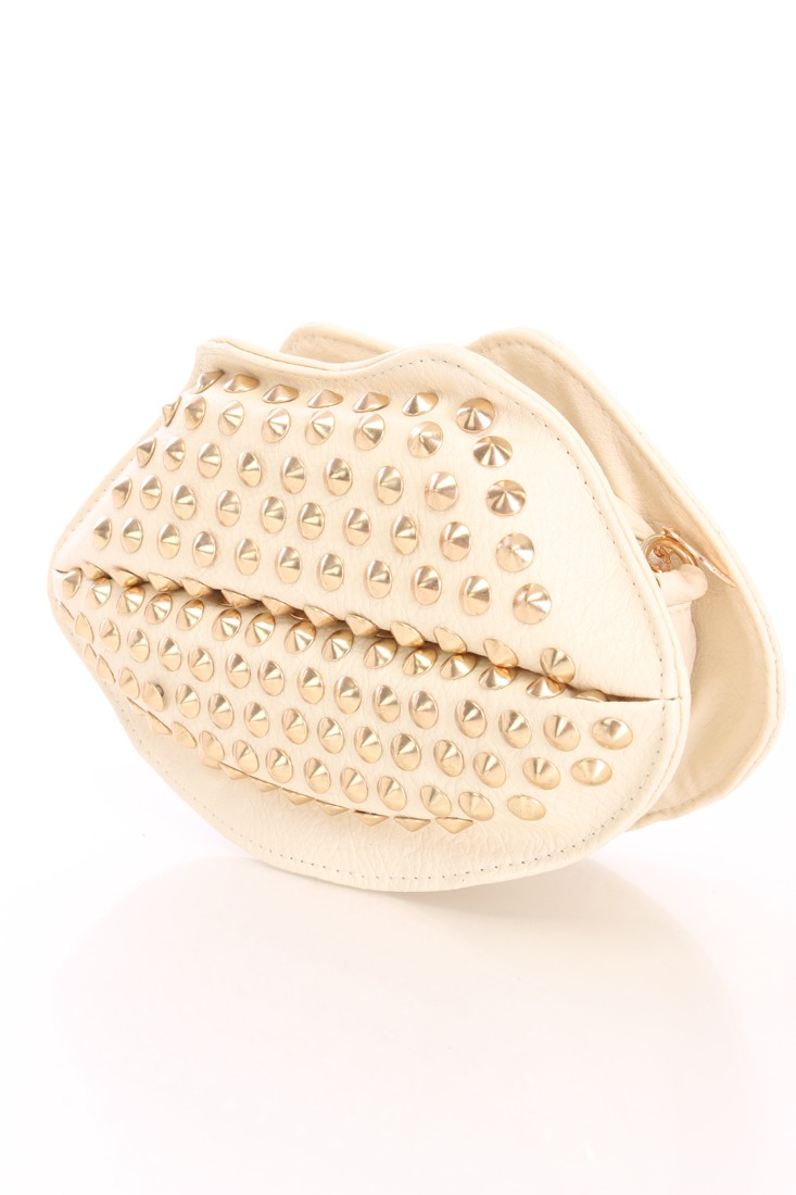 Beige Faux Leather Studded Lip Clutch Handbag