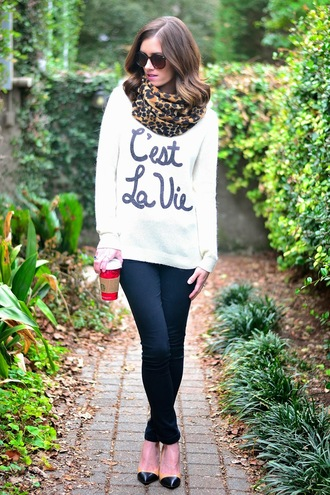 book of leisure blogger scarf sweater quote on it ballet flats leopard print shoes