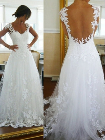 Fascinating Ball Gown Straps Sweep Train Lace Wedding Dress/Prom [B0038] - $309.99 : 24inshop
