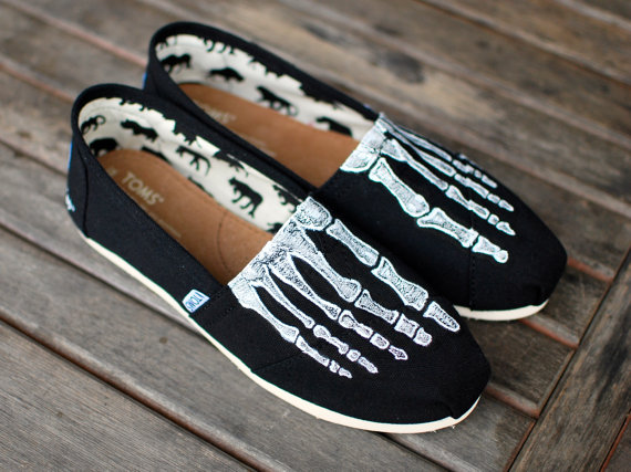 Custom hand painted toms  skeleton xray boney feet by bstreetshoes