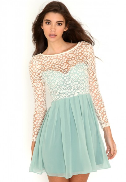Revetta Daisy Lace Chiffon Skater Dress- skater dress- missguided