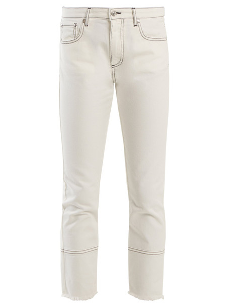 MSGM High-rise straight-leg cropped jeans in white