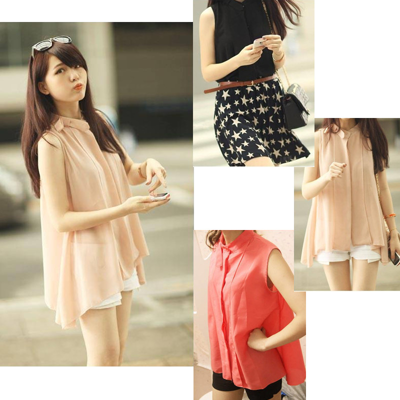 Fashion Summer Women Chiffon Shirt Sleeveless Stand Collar Tops Loose Retro Elegant Blouse