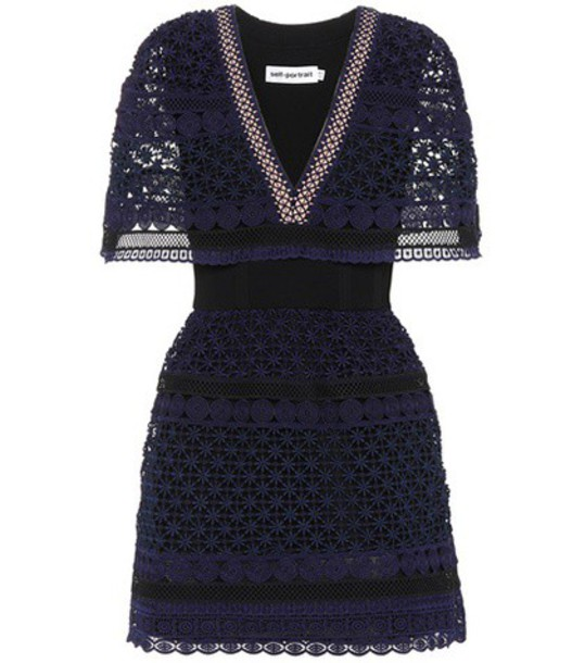 self-portrait dress mini lace blue