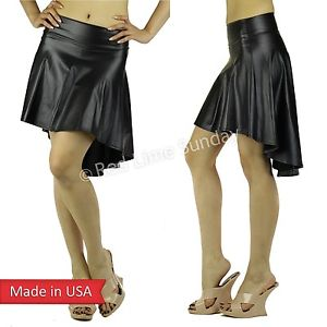 New Women Faux Leather Cute Hi Lo Mini Flare Draped Solid Color Skater Skirt USA