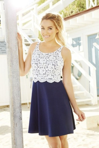 dress lace dress navy lauren conrad