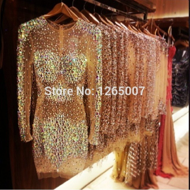 Aliexpress.com : Buy Round Neck Long Sleeves Beaded Crystal Rhineston See Through Sparkly Mini Short Glitter Party Dresses Gowns Special Occasion from Reliable dresses gowns uk suppliers on SFBridal