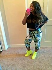 pants,neon,yellow,green,capri,reginae carter,reginae,lil wayne,dope,trill,swag,cool,urban,nike,weave,cute,shoes