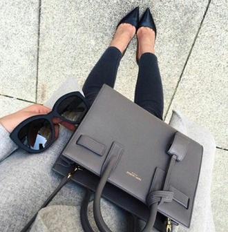 sunglasses black sunglasses outfit handbag yves saint laurent