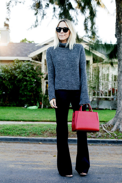 damsel in dior blogger turtleneck red bag pants bag sweater shoes jewels grey turtleneck top sunglasses flare pants black pants