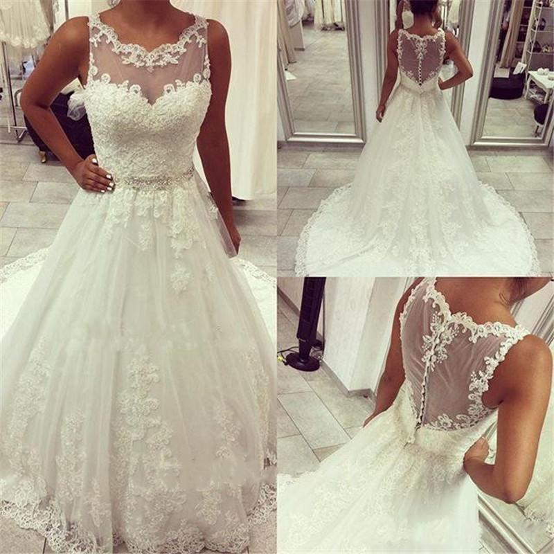 Exquisite Modest Pluse Size Lace Wedding Dresses 2015 A Line
