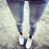 jeans,denim,skinny jeans,blue,polka dots