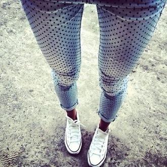jeans denim skinny jeans blue polka dots