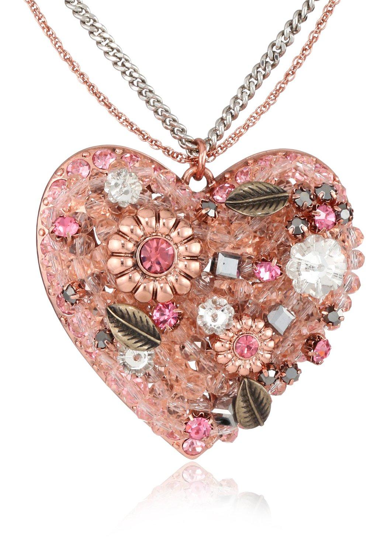 "Amazon.com: betsey johnson ""iconic vintage rose"" vintage heart pendant necklace: jewelry"