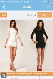 dress,black,white,little black dress,white dress,white lace dress,black lace dress,sleeved,long sleeve dress
