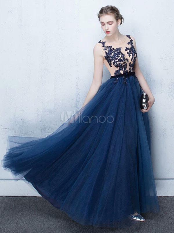 Dark Navy Prom Dresses Long Tulle Evening Dress Lace Illusion Floor Length Formal Dress