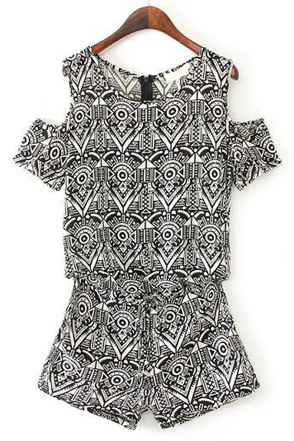 Cutout Geo Tribal Rompers - OASAP.com