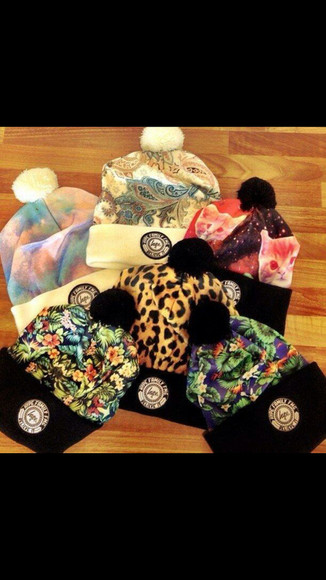 cats colorful beanie cheetah