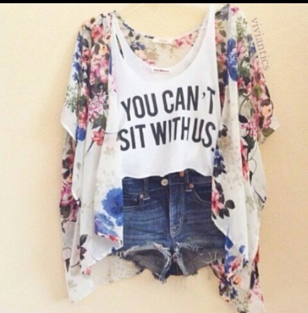 tank top colorful mean girls shorts floral kimono sweater jacket