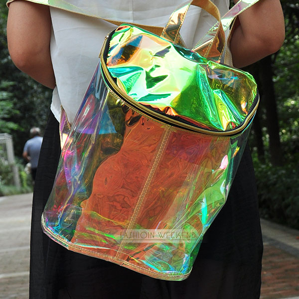2014 Fashion HARAJUKU Kiko Transparent Multicolor Laser Backpack Women Colorful Hologram Laser Holographic Iridescent School Bag-in Casual Daypacks from Luggage & Bags on Aliexpress.com