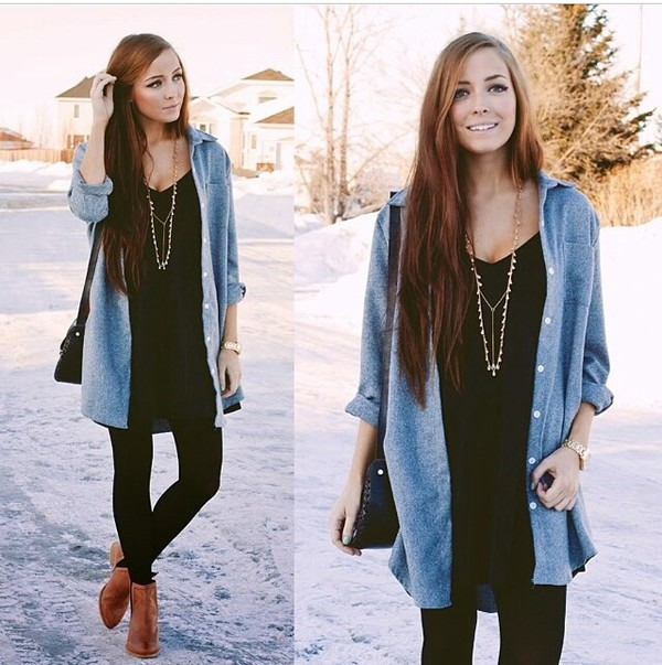 winter outfits black dress gold necklace long hair jacket jewels