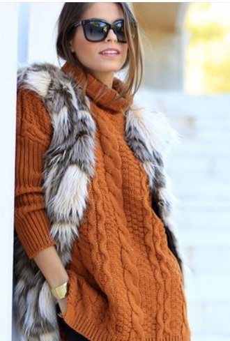 fur vest fur fashion rust cable knit faux fur vest