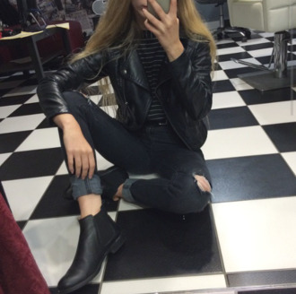 jacket leather jacket black jacket black leather black leather jacket jeans shoes