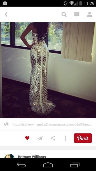 dress gold sequins white dress