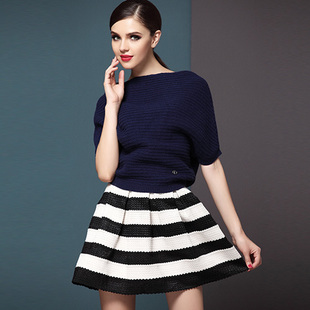 new arrival autumn and winter fashion women's sexy black and white stripe ball gown skirt high waist puff skirt short mini skirt-inSkirts from Apparel & Accessories on Aliexpress.com