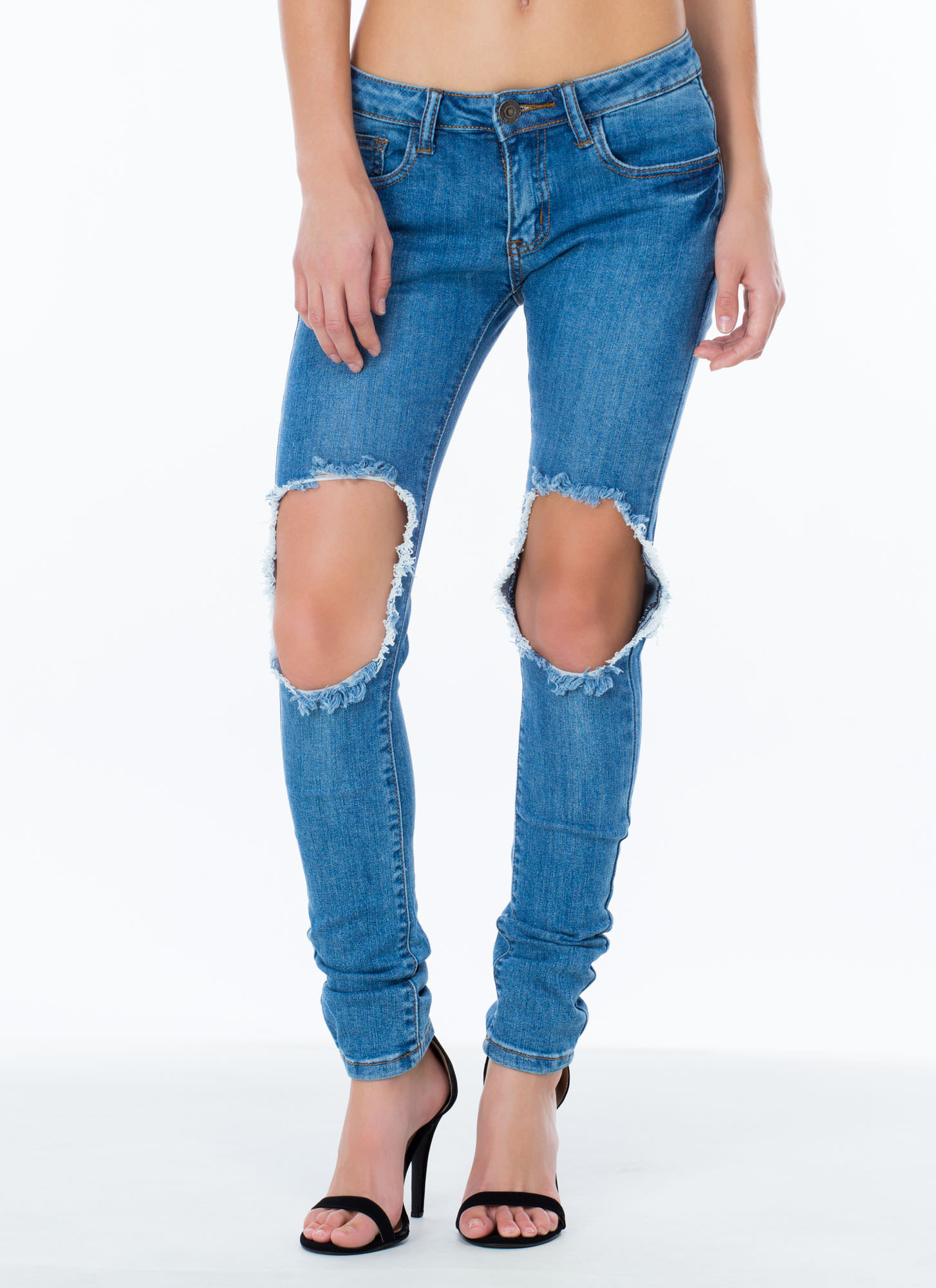 los angeles professional website quality design Take A Knee Cut-Out Jeans BLUE - GoJane.com