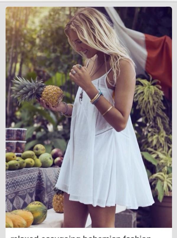 dress white dress mini dress boho festival coachella hippie casual dress