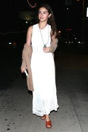 shoes,dress,selena gomez,white,white dress,celebrity,mules