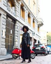 jacket,black jacket,leather jacket,biker jacket,black dress,long dress,boots,black boots,shoulder bag,round bag,earrings