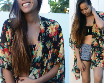 Popular items for floral kimono on etsy