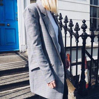 jacket check blazer blazer grey blazer plaid plaid blazer oversized