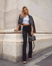 jeans,flare jeans,black denim,high waisted jeans,cropped t-shirt,cropped jacket,leather jacket,sandals,handbag