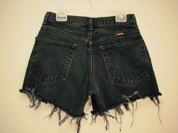 Black metal denim short by gypsiithrift on etsy
