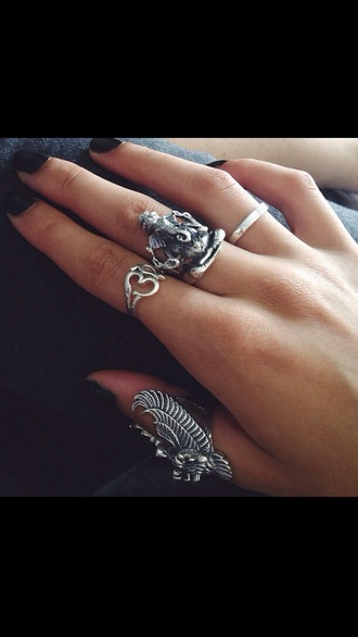 jewels sterling silver ring eagle ring silver ring