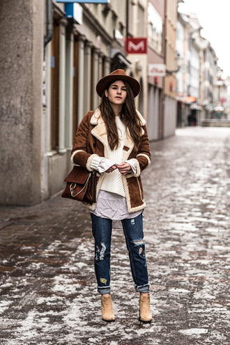the fashion fraction blogger jacket sweater blouse jeans shoes bag hat