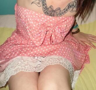 pink dress dress bow polka dots polka dress lace bow dress