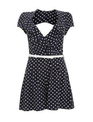 Navy Polka Dot Cut Out Belted Playsuit