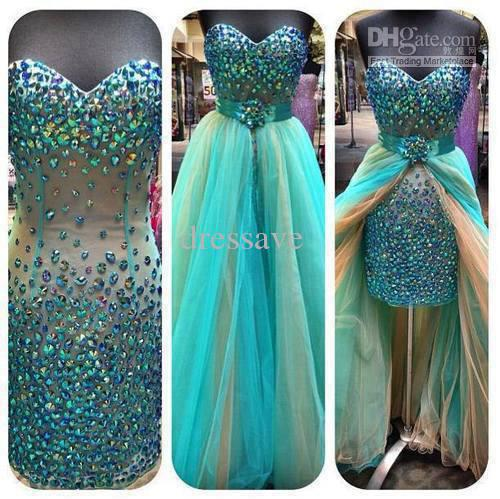 Wholesale Evening Dresses - Buy 2014 Dressave Sexy Hunter Green Mini Short Hi-lo Pageant Dresses Above Knee Strapless Beaded Crystals Colorful Rainbow Prom Cocktail Dresses, $135.55 | DHgate