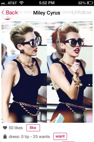 belt miley cyrus gold belt gold chain gold jewelry jewelry sunglasses blouse