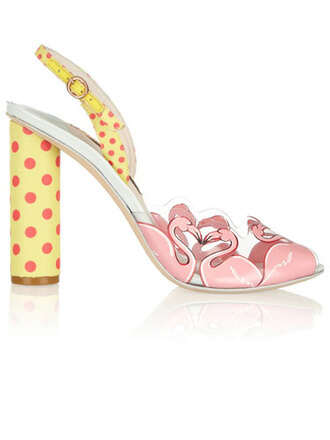 shoes flamingo polka dots high heels kawaii