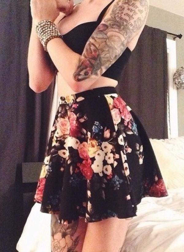 skirt floral skirt skater skirt black floral skirt floral skater skirt hipster