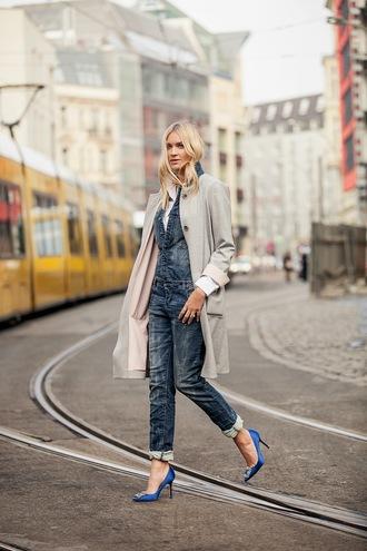 en vogue coop blogger coat denim overalls stilettos blue shoes