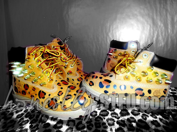 shoes timberlands cute leopard spike boots gold leoaprd print nice hot new fashion footwear