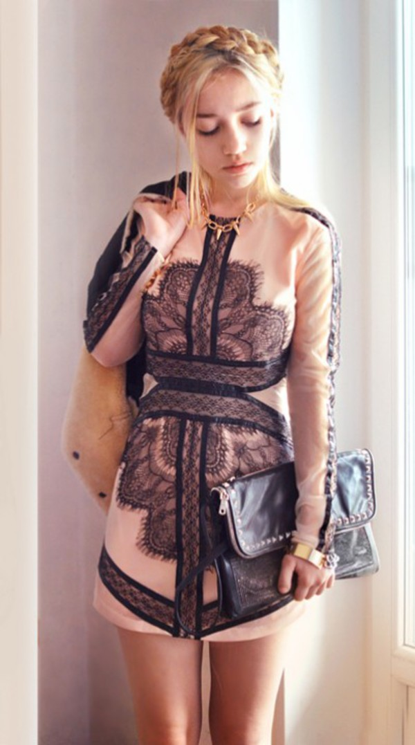 ukraine eyelash lace mesh dress in nude aksinya air jewels bag jacket dress
