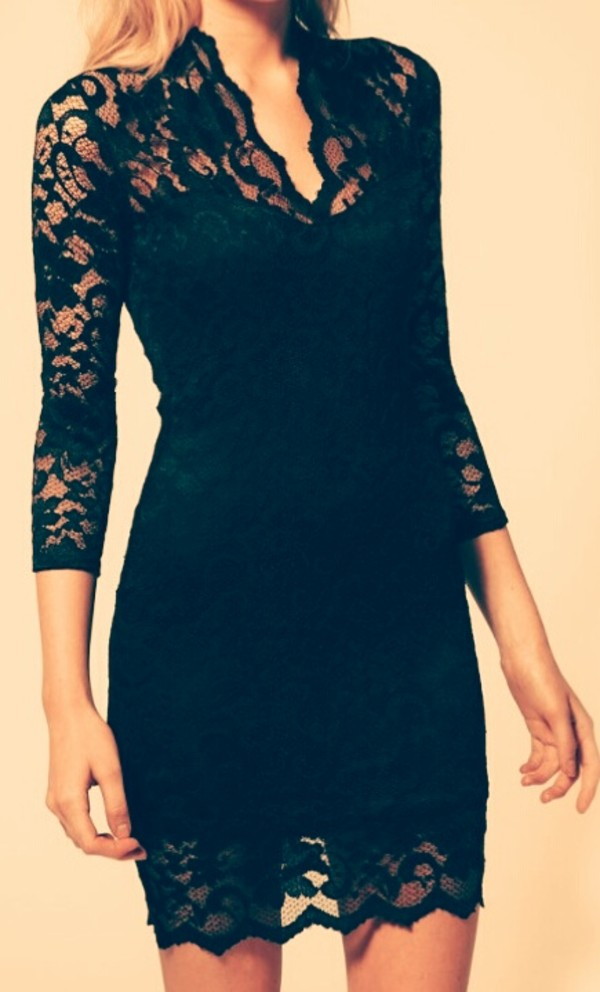 dress black pencil dress lace sleeves party ready